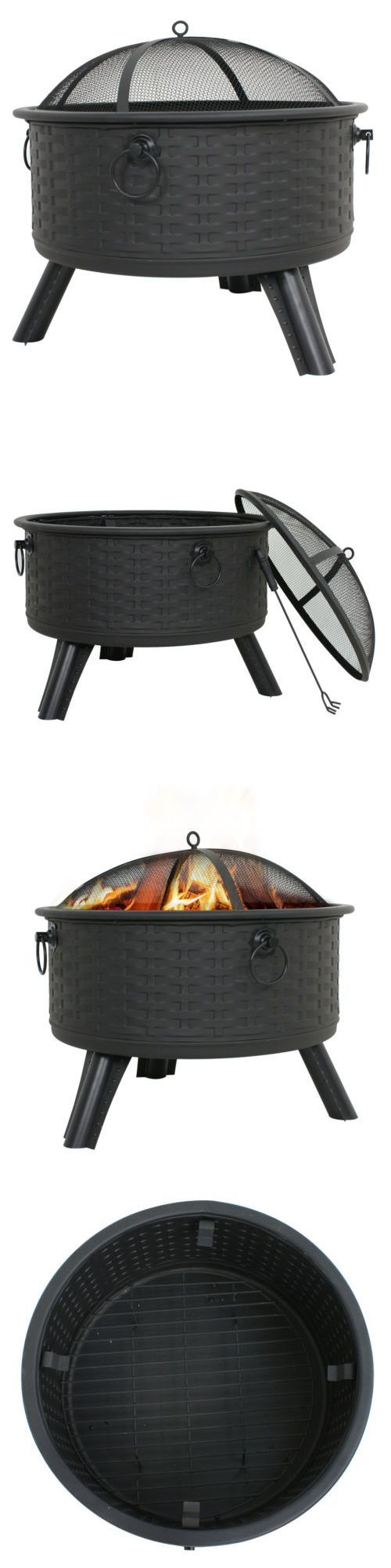 Fire Pits and Chimineas 85916: Patio Deck Firepit Outdoor Fireplace Wood Burning Heater Pit Backyard Fire Cover -> BUY IT NOW ONLY: $79.99 on eBay!