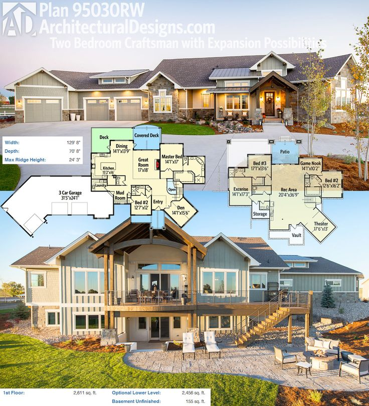 Introducing Architecural Designs House Plan 95030RW. This mountain ranch home gives you single floor living with expansion on the lower level. If your lot slopes, you enjoy outdoor spaces on both levels.  Ready when you are! Where do YOU want to build?