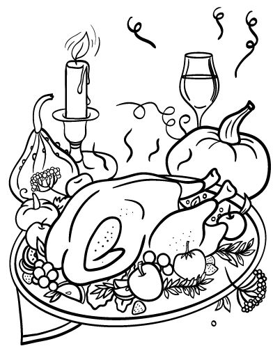 Printable Thanksgiving Dinner Coloring Page Free PDF