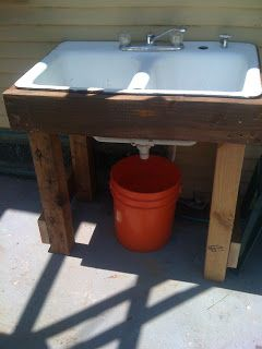"""Outdoor Sink Makes Water Recycling Simple - This sink is ridiculously easy to make from """"found"""" or repurposed parts (try Habitat for Humanity ReStores). The sink is hooked up to an outdoor hose (no plumbing) and water from it goes into a simple 5 gallon bucket to collect grey water that can be used on landscape. Now instead of going inside to wash garden produce, it can be done at the outdoor sink."""