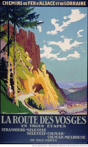 La route des Vosges en trois étapes, Strasbourg-Selestat, Selestat-Colmar, Colmar-Mulhouse, Julien, Chemins de fer d'Alsace et de Lorraine