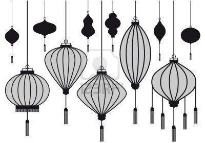 set van chinese lantaarn, vector silhouetten Stockfoto - 10310253