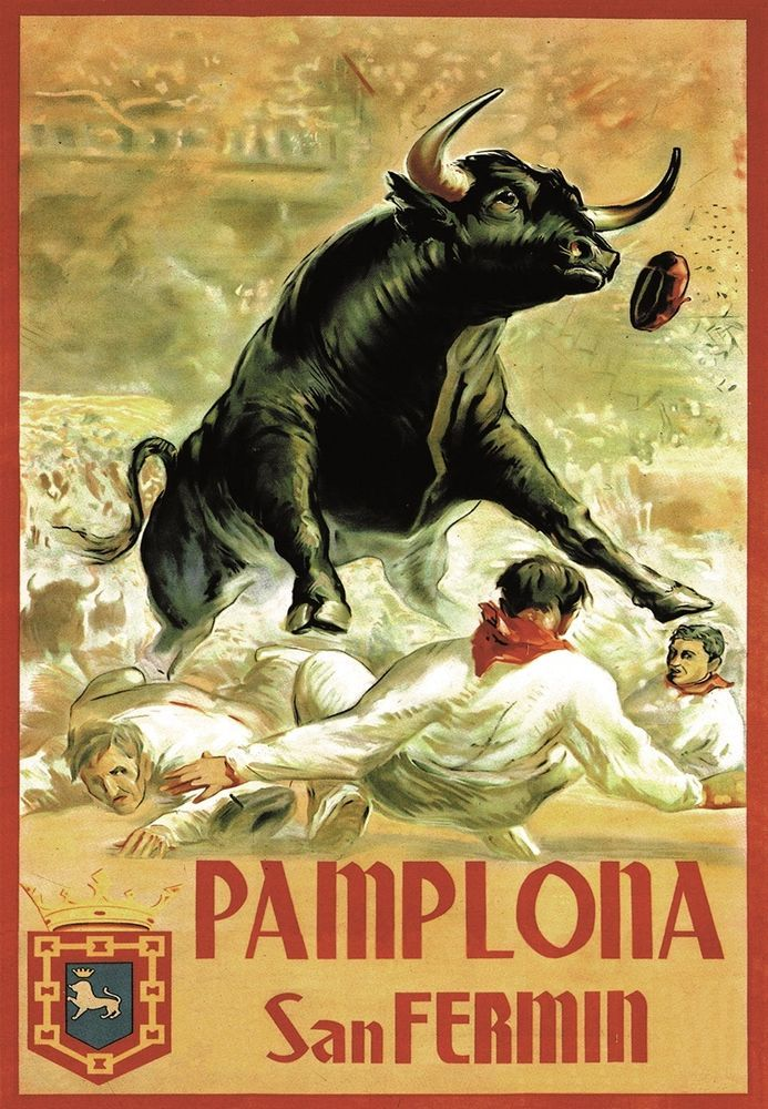 PAMPLONA SAN FERMIN. SPANISH ANDALUCIA TRADITIONAL BULLS POSTER