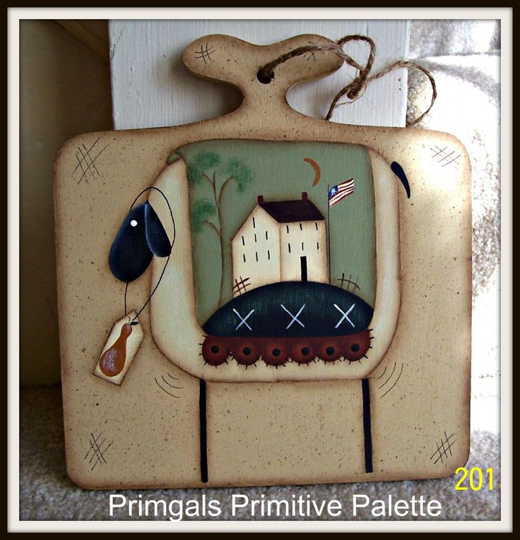 Primitive Spring Sheep Wood Saltbox House Plaque Hand by Primgal, $15.95