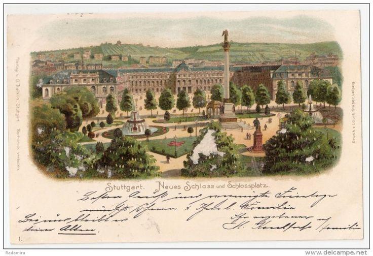 CARTE POSTALE CPA ALTE ANSICHTSKARTE AK PC POST CARD ОТКРЫТКА Stuttgart Neues Schloss und Schlossplatz 1899.