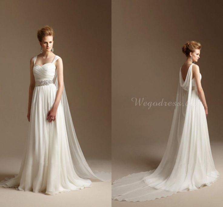 Grecian Style Wedding Dress with Watteau Train Long Chiffon Summer Beach Bridal Dress Greek Wedding Gowns 2015 Vestidos de Novia