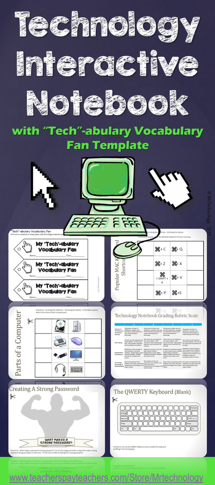 """Get students involved in taking notes and understanding the technology that they encounter and utilize every day with this Technology Interactive Notebook!  Also includes a """"Tech""""-abulary Fan template for students to collect and organize technology vocabulary words and their meanings."""