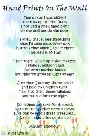 Hand Prints Poem And The Wall On Pinterest