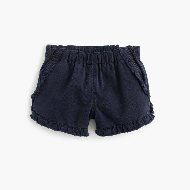Girls' pull-on garment-dyed ruffle short :   | J.Crew