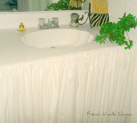 Cottage shabby coastal chic bathroom sink skirt in muslin or washed linen by FrenchVanillaCharm on Etsy