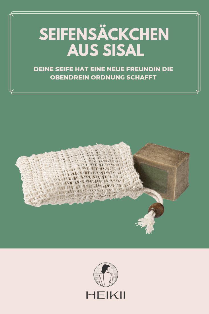 Seifensäckchen aus Sisal von HEIKII der Allrounder im plastikfreien Badezimmer Zero Waste Haarseife