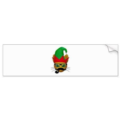 Funny Cat with elf hat and mustache glasses pipe Bumper Sticker - christmas craft supplies cyo merry xmas santa claus family holidays
