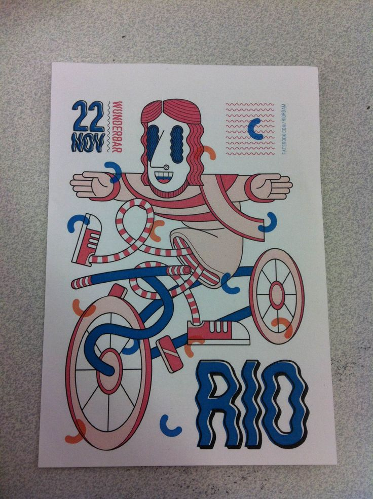Flyer for Rio at Wunderbar. I Saw this flyer at school, and immediately thought of some resemblance. It shares some characteristics with one of Nicolas Menards characters - then lines are more clear, but colours and style are similar (See next pin for Example). Also, the pattern in the top right corner also appears on Nicolas Menards website.