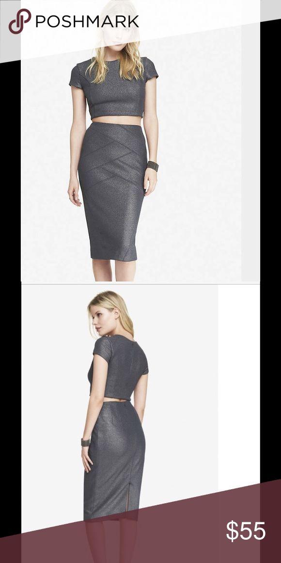 2pc set crop top with pencil skirt Gunmetal metallic crop top with matching midi pencil skirt!!! Brand new!!! Express Skirts Midi