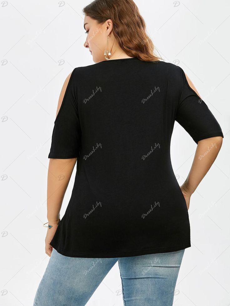 Plus Size Lace Trim V Neck Cold Shoulder Flowy Top - BLACK 2XL