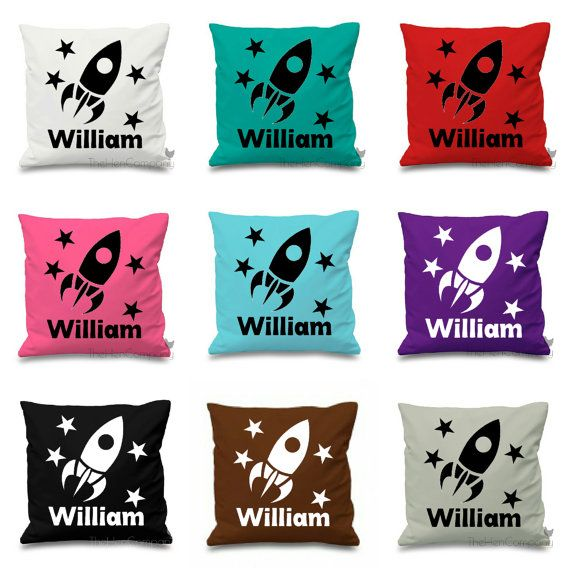 Personalised Cushion Cover Rocket Cushion Name by TheHenCompany