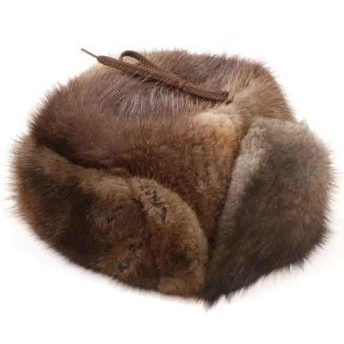 Chapeau facteur rat musqué tout fourrure / Natural muskrat full fur trapper hat