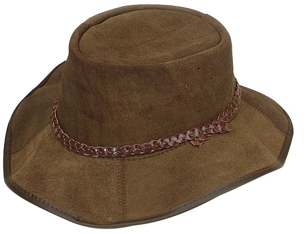 1114 Crackerjack Suede Brown. Cow Leather Brush Suede Hat by Jacaru: Zig Zag Stitch seams,  Leather Plaited Hatband.