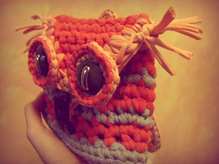 Backpack-Owl baby's. T-shirt yarn/ Рюкзак-Сова детский из трикотажной пряжи (или трикотажная пряжа, пряжа-лента) с подкладом. ...whith LoVe, BananaMama...