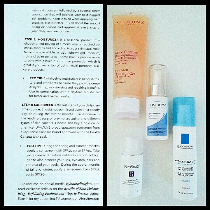 PART2. Layering of skincare products featured on Waterfront Magazine.  #skincare #skinexpert #skincareproducts #Clarins #Neostrata #larocheposay #cliniderm