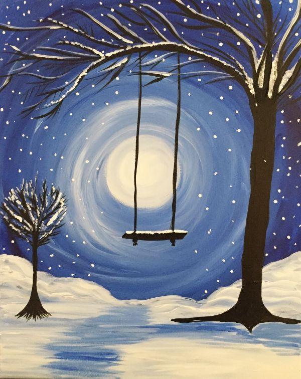 40 Original Winter Paintings On Canvas Bored Art Winter Painting Night Painting Easy Canvas Painting