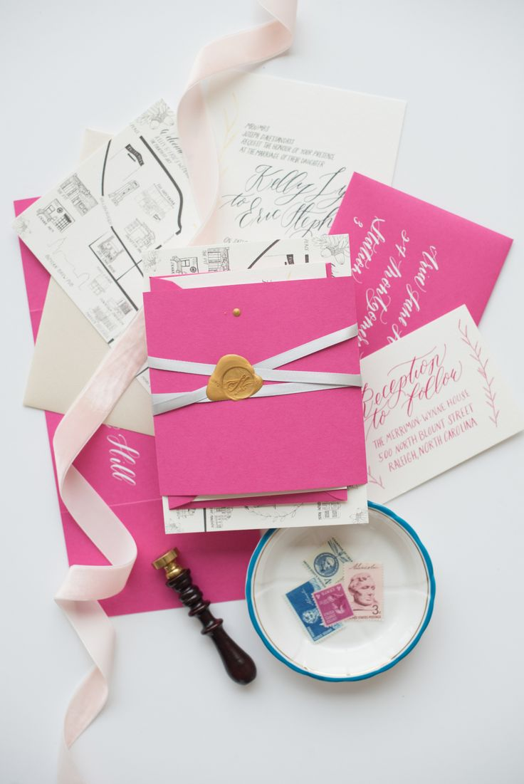 fuchsia wedding invitations, bright pink wedding invitation, whimsical wedding invitation