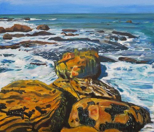 'False Bay Coast '   Signed with the Artist's Monogram   Oil on Canvas   60 by 70cm