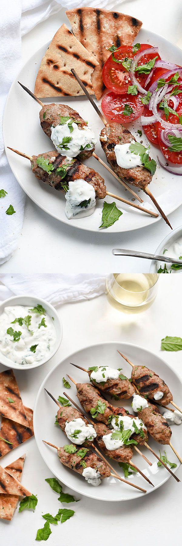Grilled Turkey Kofta Skewers with Yogurt Sauce #skewers #turkey #greek