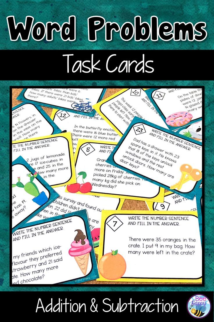 Addition And Subtraction Word Problems Task Cards Subtraction Word Problems Word Problems Word Problems Task Cards [ 1105 x 736 Pixel ]