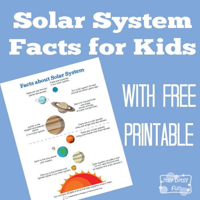 FREE--Solar System Facts for Kids..There are many interesting things going on in our part of the galaxy so learning about them is always fun.