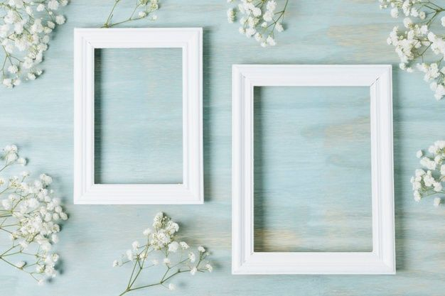 Download White Baby S Breath Flowers Around The Empty Wooden White Frame On Blue Texture Backdrop For Free Blue Texture Flower Background Wallpaper Babys Breath Flowers