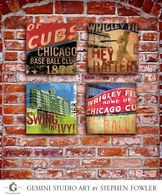 Set of 4 Wrigley Field Chicago Cubs baseball sign original art on canvas panel 10 x 10 by stephen fowler via Etsy
