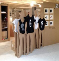 cardboard cutouts to display clothing - could use to display jewelry or accessories at a craft fair.