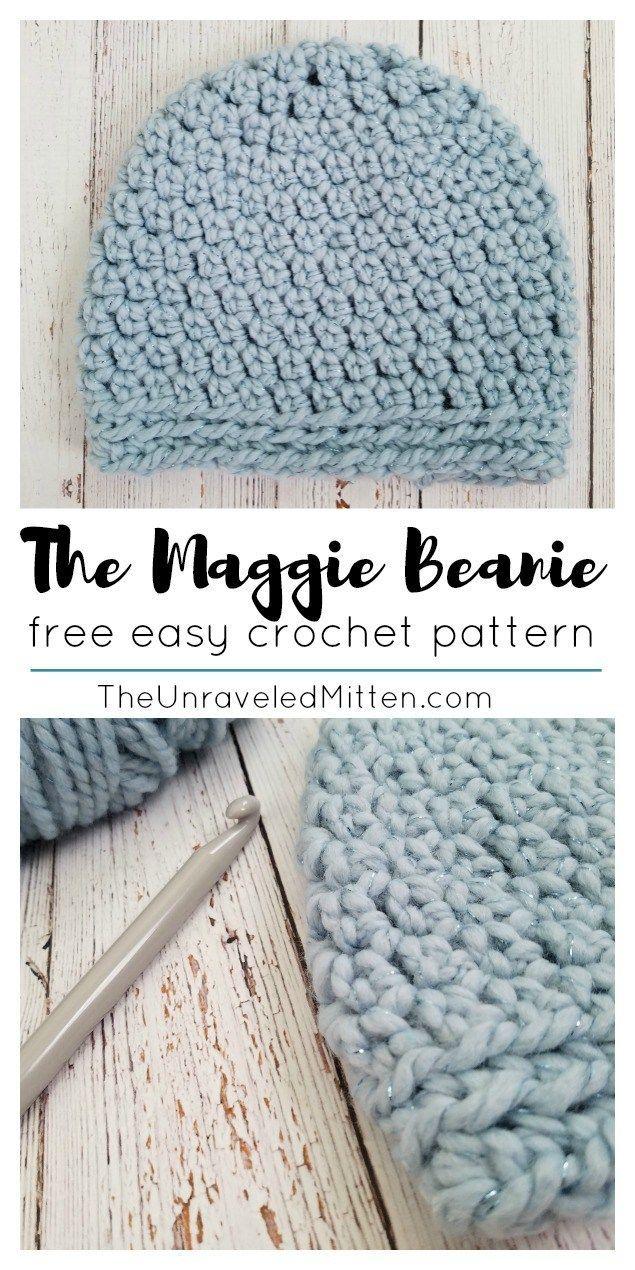 The Maggie Beanie | Free Easy Crochet Pattern | The Unraveled Mitten | Winter Hat | Bulky Yarn | Chunky Crochet Hat