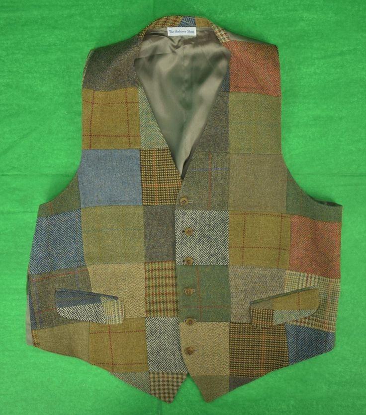 The Andover Shop Patch Wool Tweed Vest Sz: 46L