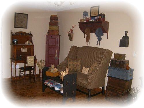 primitive colonial farmhouse living room primitive style