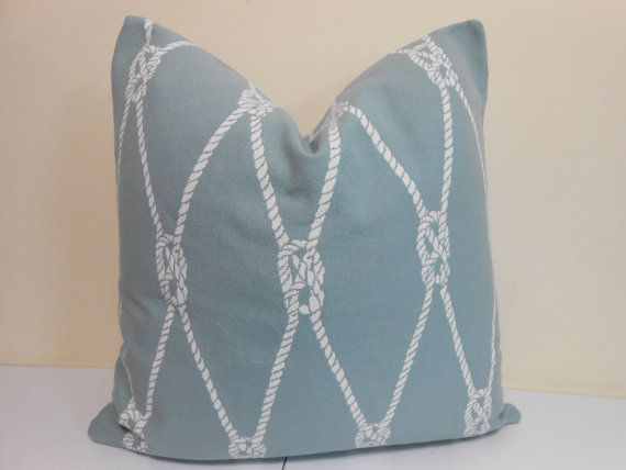 Contemporary Outdoor spa white pillow fabric featuring rope motif woven into the fabric. This is a high end Kravet fabric.   Both sides have the