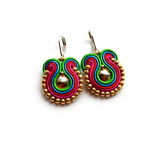 Statement soutache earrings RAINBOW bridesmaid gift summer boucles d'oreilles pendientes orecchini swarovski crystals green blue red pink