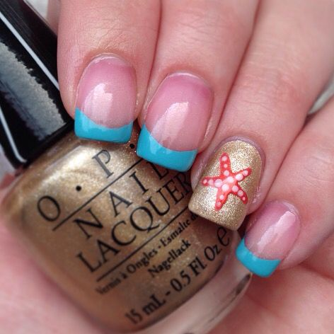 Blue gold starfish sand water beach summer french tips colored nails nail art design