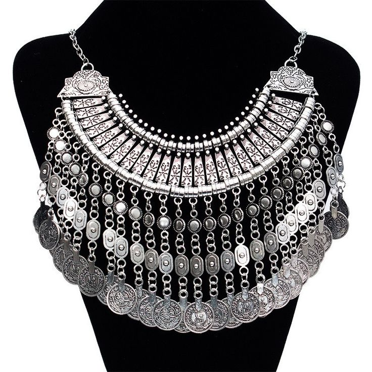 Tuareg-Inspired Tribal Chic Long Bib Style Statement Coin Necklace