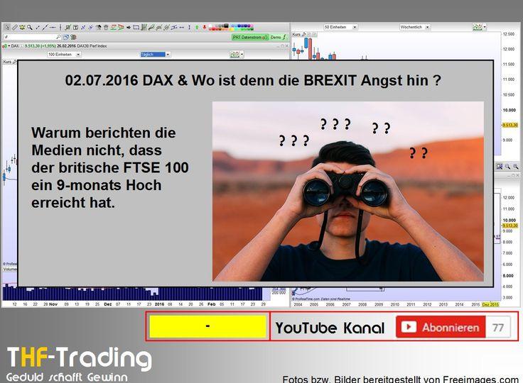 Wo ist denn die BREXIT Angst hin ? Während die Presse noch den Weltuntergang infolge des Brexit verkündet, so denken die Aktienmärkte anders. Der britische Aktienindex FTSE100 schloss den letzten Monat mit einem 9monats Hoch und zeigt Stärke.