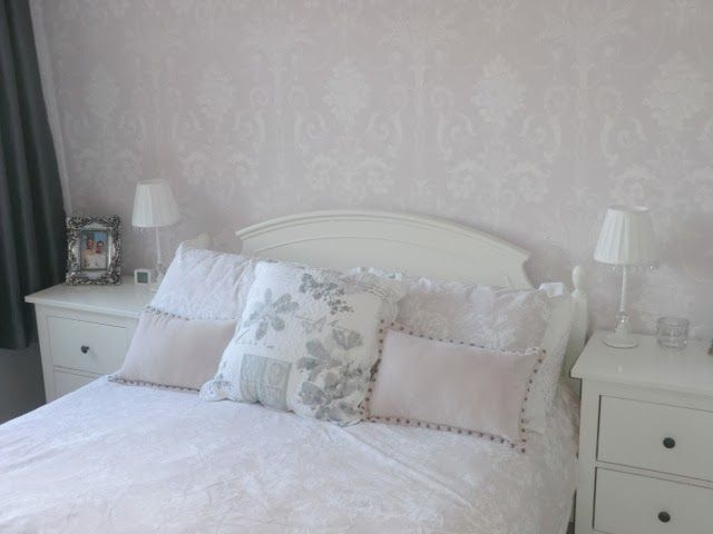 My bedroom Laura Ashley Josette wallpaper and Holly Willoughby bedding.