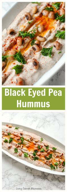 Entertain in style! This savory Black Eyed Pea Hummus recipe is the perfect appetizer to serve with pita chips and crackers. A delicious flavorful spread. #appetizer #glutenfree #spread #vegan  via @Livingsmoments