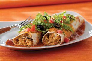 Enchiladas au flétan ------------Si le flétan ne paie pas de mine habituellement, sa saveur est mise en valeur dans ces enchiladas rehaussées d'une garniture piquante et de fromage.