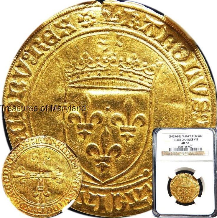 NGC AU50 Certified! 1483-1498 Charles VIII Gold ECU D'OR FG5