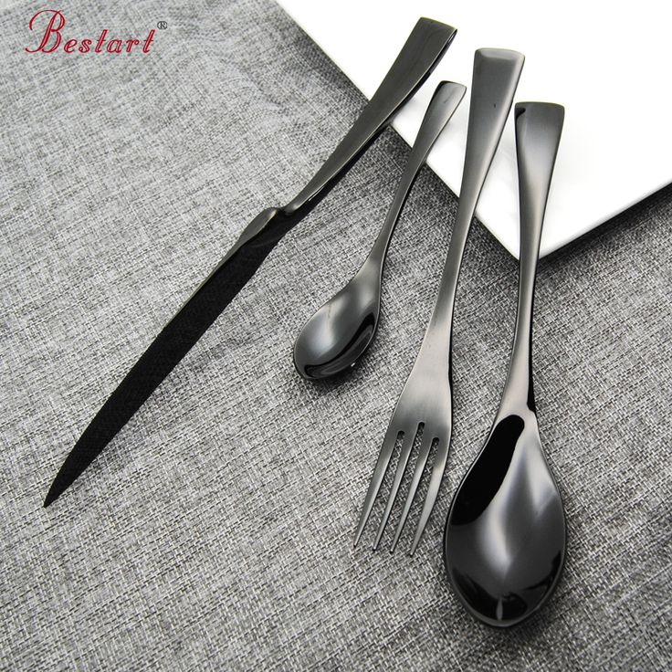 ==> [Free Shipping] Buy Best 24 Pcs/lot Top Quality Stainless Steel Black Cutlery Set Knife and Fork and Tablespoon Dinnerware Set 24 for 6 person Cutlery Online with LOWEST Price | 32766149985