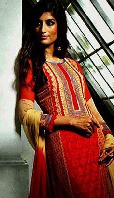 Beautiful Indian Red Georgette Pakistani Salwar Kameez