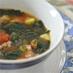 Italian Sausage Soup. Use 48 oz kitchen Basics Chx Stock, 28 oz whole Italian Tomatoes, spicy Italian Sausage, 1 small onion, 1/2 bunch fresh spinach, 2 tsp basil, 2 tsp oregano, 2 tsp red pepper flakes, add 1 large zucchini with 2 hrs to go, 1 tsp black pepper, 1/4 tsp fennel seed crushed, 6 garlic cloves, 1/4 c balsamic vinaigrette & start with 1 tbl red wine vinegar and up to 4 tbl, and a Parmesan rind. Serve with fresh parsley, Parmesan, and bread with butter.