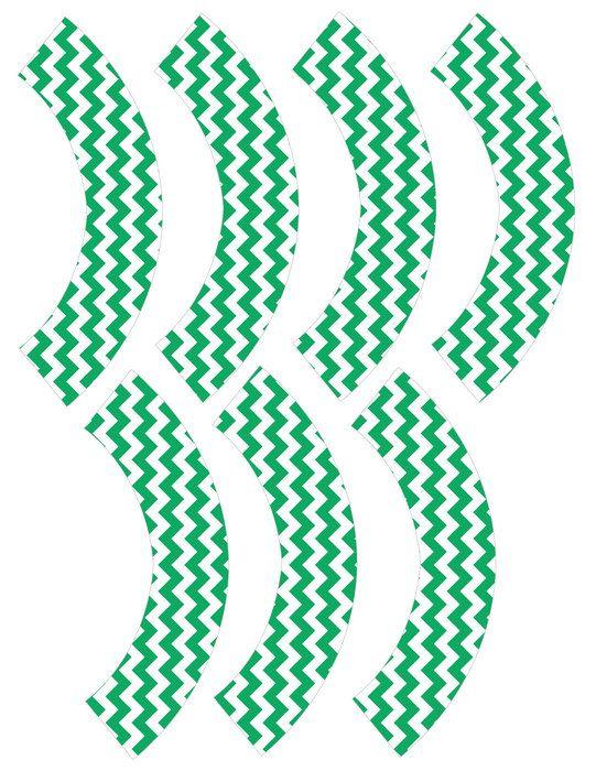 Mini Green Chevron Cupcake Wrapper van pumpkinbeans op Etsy, $3.00