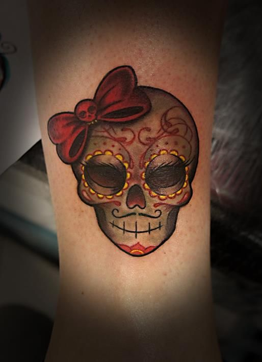 Sugar skull love the mustache and eyelashes thinking for Skull love tattoos